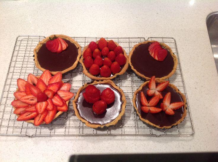 Chocolate Ganache Tarts with Strawberries