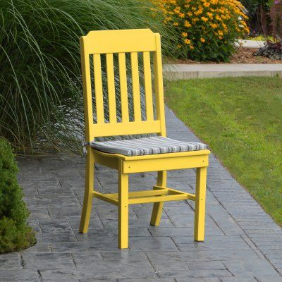 A & L Furniture Poly Traditional Outdoor Dining Side Chair - 4101-LY LEMON YELLOW