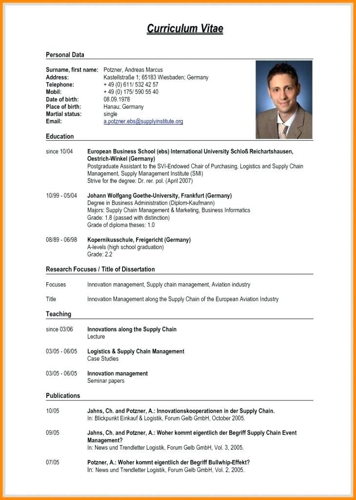 Resume Format Germany Job Resume Format Curriculum Vitae Format Curriculum Vitae Template