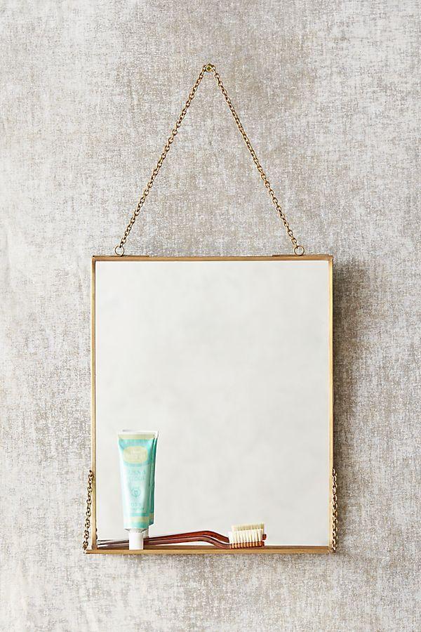 Slide View: 1: Brass Mirror Shelf