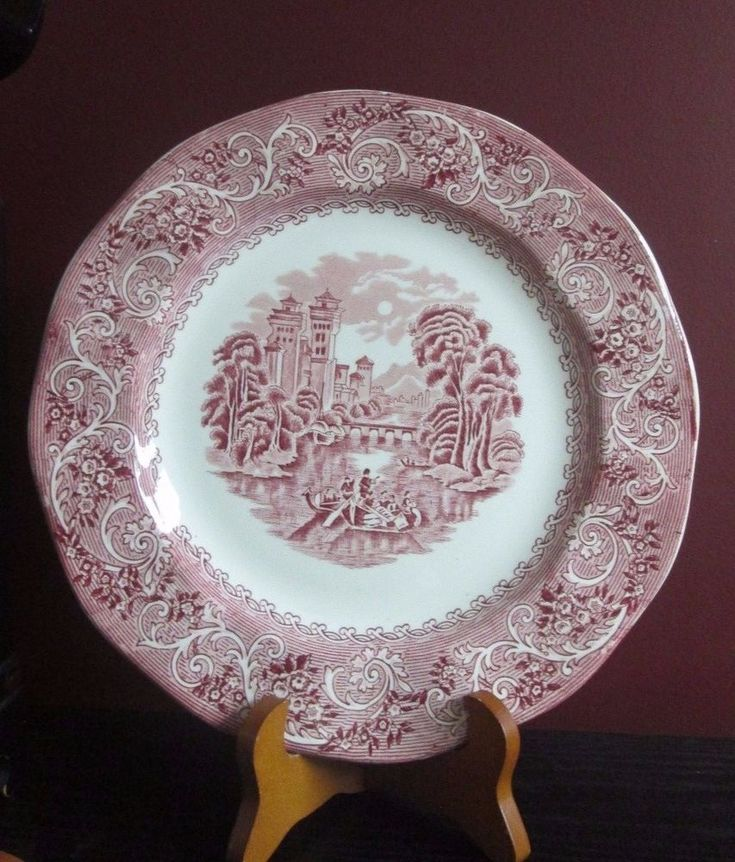 ANTIQUE Staffordshire RED PINK Transferware Plate CHARGER 11.25  RIVER SCENE : chinese plates antique - pezcame.com