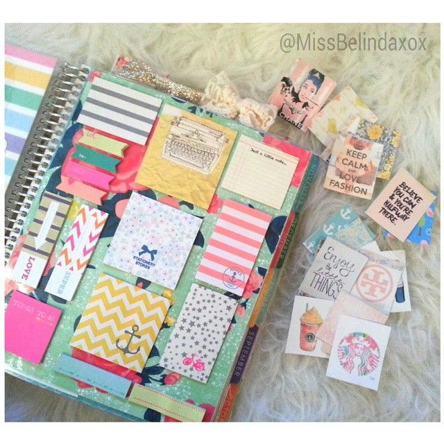 Love this custom dashboard with pretty sticky notes. missbelindaxox on Instagram on We Heart It