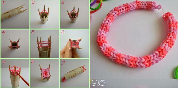♥ DIY Pulsera de gomitas con tricotín casero