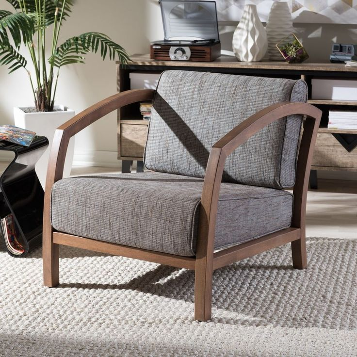 Modern Accent Chair Brown Wood Classic Removable Cushion Seat Furniture New #BaxtonStudio #MidCentury #Modern #Chair #Seat #Furniture