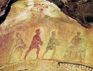 La adoración de los Reyes Magos, catacumbas de Priscila, S. III, Roma.