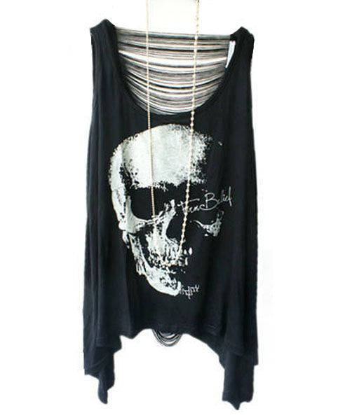 Skull Graphic Tank with Slashed Back