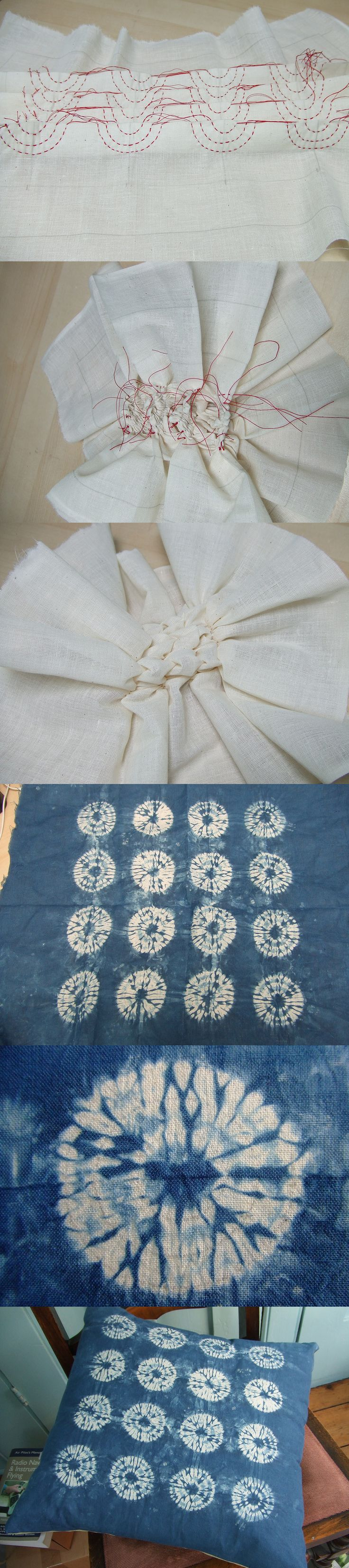"""1. Stitched semicircles on folded calico 2. Calico after pulling all the threads tight and securing 3. Other side of the calico after pulling the threads tight 4. After dyeing with indigo and unpicking the stitches 5. Close-up detail of shibori circle 6. The finished cushion! Taken from the blog, """"Flextiles,"""" original link is http://flextiles.wordpress.com/2011/07/15/shibori-cushion/"""