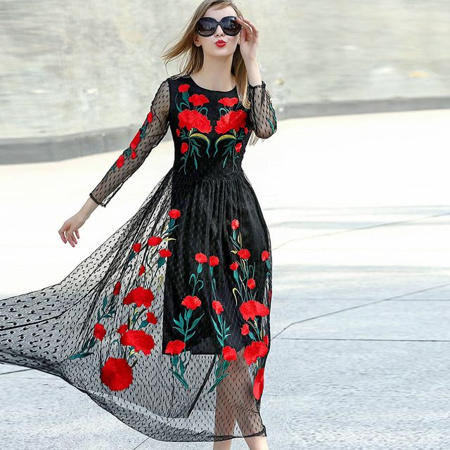 Great brand Runaway 2016 Newest Fall Fashion Slim Elegant ORganza Vintage Black Ebroidery Flower Casual Long Dress Women   US $54.45 /piece   Click link to buy other product http://goo.gl/p8JMyk