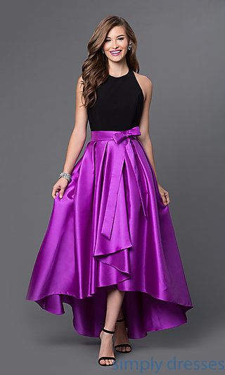 Shop orchid purple prom gowns with black halter tops at Simply Dresses. High-low dresses for mardi-gras and backless evening gowns for formals.