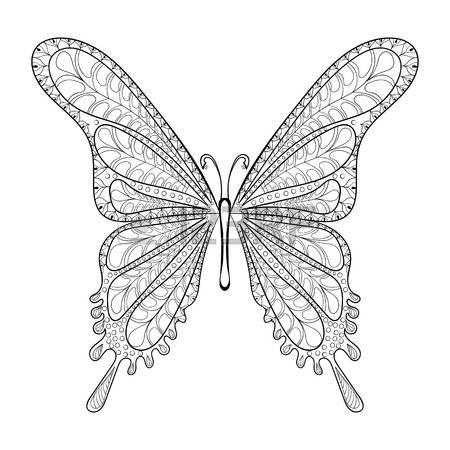 Disegnata a mano modello di farfalla tribale per le pagine adulti Anti Stress da colorare, cartolina postale, T-shirt stampata, logo icona. Boho, stile bohemien. Isolata l'illustrazione di Doodle, disegno henné tatuaggio.