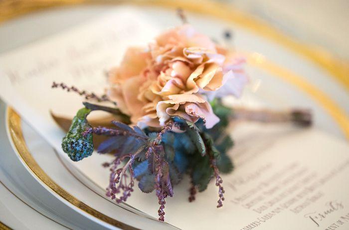 Beautiful pale apricot carnation buttonhole / boutonnier by Celsia Floral
