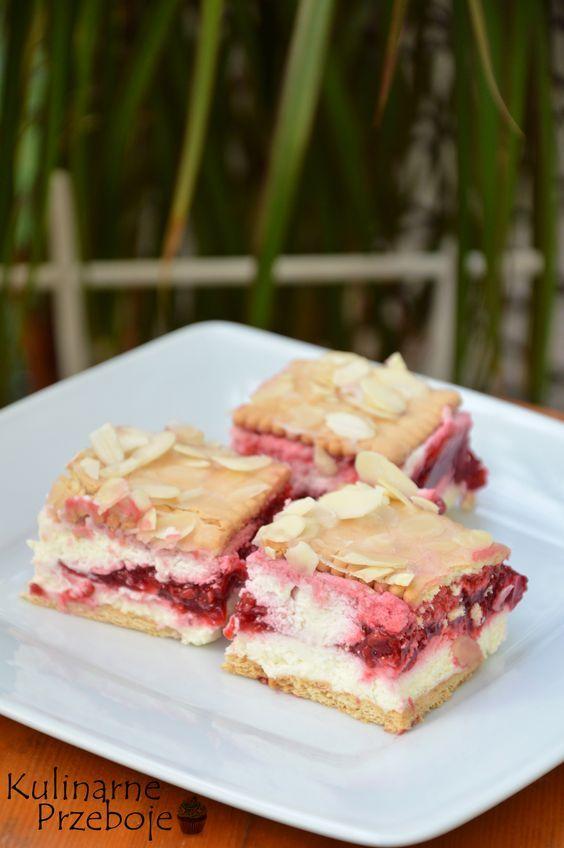 Malinowa rozkosz bez pieczenia, Ciasto z malinami i kremem, Ciasto z malinami bez pieczenia, Ciasto z malinami i kremem - bez pieczenia.