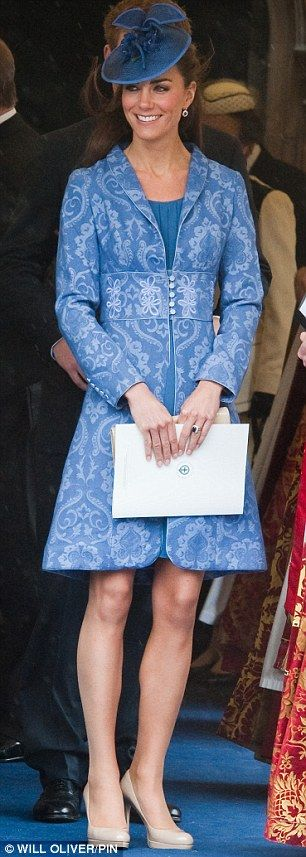 Something blue: Kate at The Duke of Edinburgh's 90th Birthday service in June, and, right, wearing the same coat dress in 2009