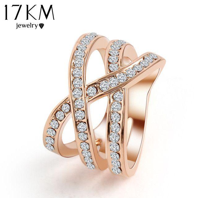 17 KM Romantische Klassieke Luxe Netto Weven Kristal Ring Zirconia Ring Vinger Ringen Verjaardagscadeautjes Sieraden Voor Vrouwen