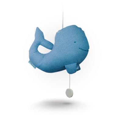 Whale music box (check-blue)