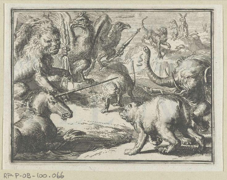 Romeyn de Hooghe | Titelblad voor het pamflet: Byeenkomst der Moogendheden in het Hof van den Leeuw, 1701, Romeyn de Hooghe, 1701 | Bijeenkomst van de leeuw met de eenhoorn (Engeland), olifant (Denemarken), beer (Zweden), adelaar (keizerrijk) en een kat (Holland) waarin de trouweloosheid van de tijger (Frankrijk) wordt besproken.