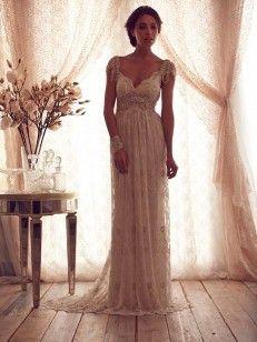 A-line/Princess Riems Mouwloos Kralen Sweep/Brush Sleep Lace Bruidsjurken