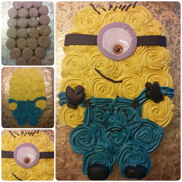 Pull Apart Minion Cupcake Cake #Cake #Cupcake #Minion