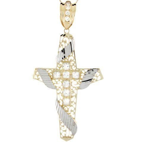 10k Two Tone Real Gold Religious Cross CZ Unique Huge Charm Pendant Jewelry Liquidation. $602.40. Made with Real 10k Gold!. Made in USA!. Save 63% Off!