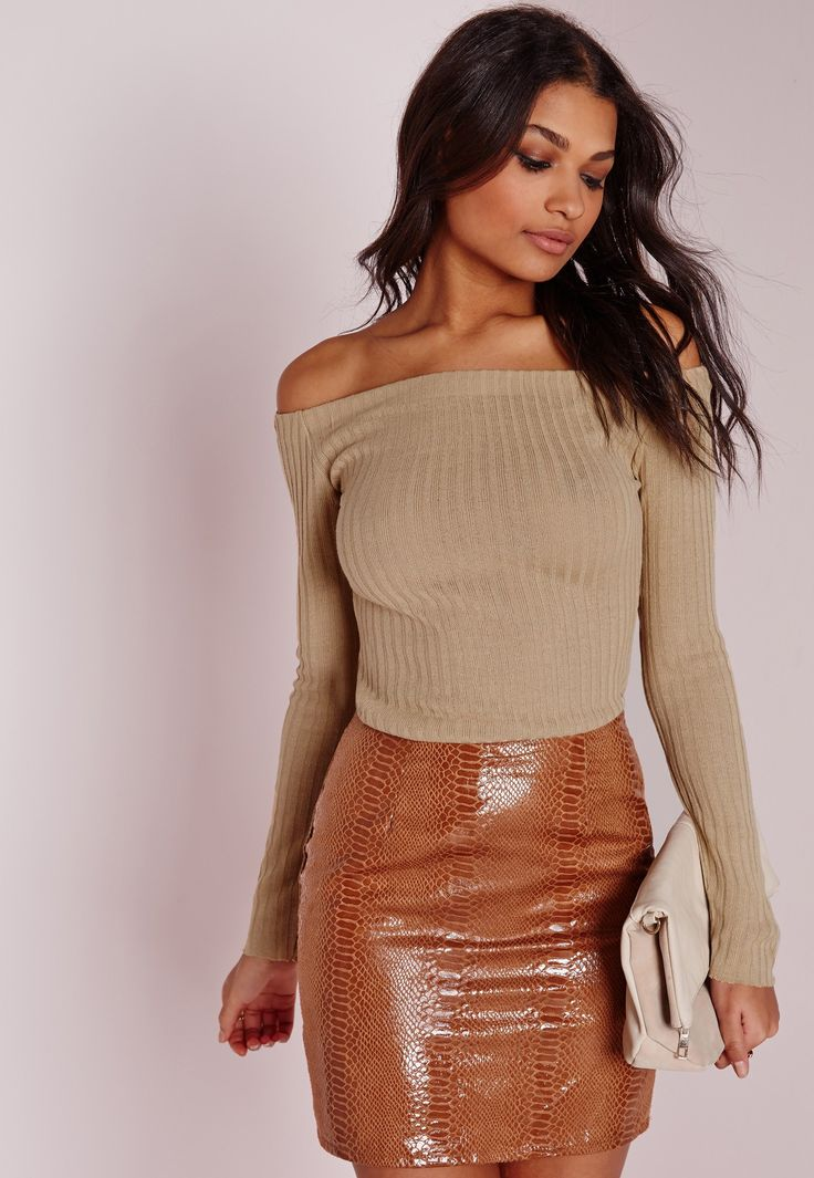 Missguided - Clean Bardot Top Camel