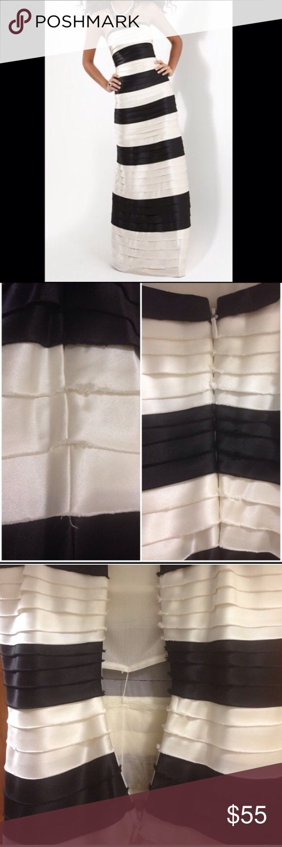 """BCBG Black and White (more off white) long dress BCBG Black and White (more off white) long strapless dress. A few areas on the dress along the panels that are frayed. Not noticeable when wearing. Can be seen in the pictures. 55"""" length. BCBGMaxAzria Dresses Strapless"""