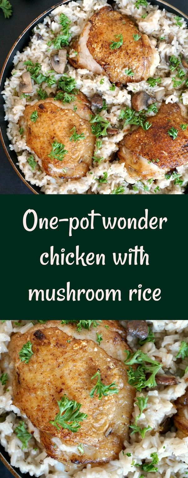 One-pot wonder chicken with mushroom rice, a healthy and delicious dish, the kind of easy chicken one-pot recipes that never fail to impress. A great family favourite meal.