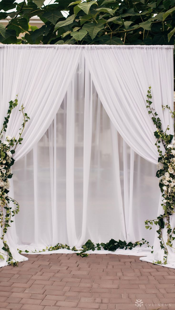 Sheer Voile Flame Retardant Fr 12ft H X 118 W Drape Backdrop Curtain Panel White In 2020 Rustic Wedding Backdrops Outdoor Wedding Backdrops Wedding Backdrop Decorations