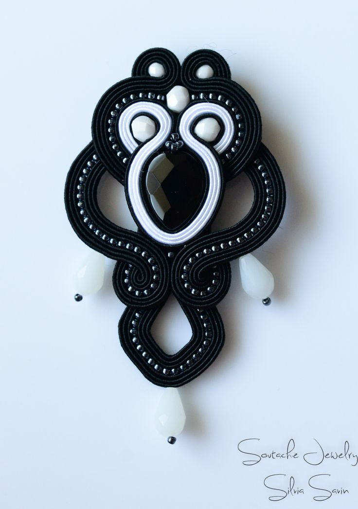 Black and White soutache brooch