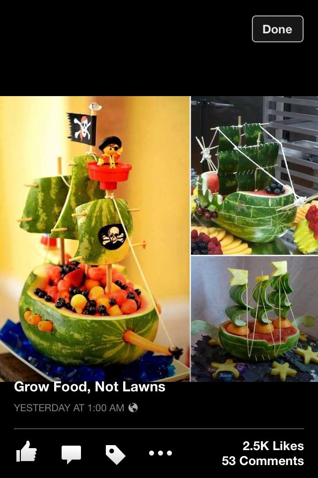 Lego pirate watermelon centerpiece.