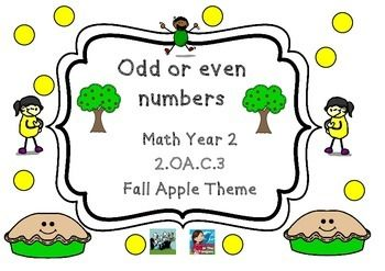 Apple Themed Math 2.OA.C.3  Odd & Even Numbers Autumn Theme Year 2   This is a fun set of 5 different printables that I created for Autumn/Fall with an apple theme.  The set contains a variety of worksheets that are common core aligned.  They are ready to go... you just need to print.  Please see preview pages which show you all pages in the set.  Thanks so much & please follow me so you can see when I add new resources.  :-)