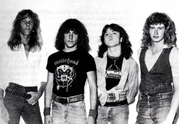 Metallica with Ron McGovney and Dave Mustaine.