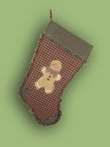 Primitive Christmas Stocking Homespun Gingerbread Man