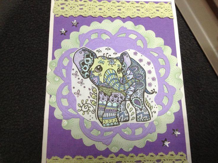 Grappige olifant digi stamp