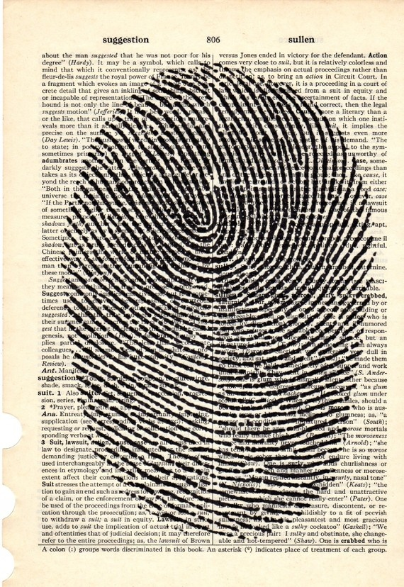 Fingerprint dictionary book page collage art print