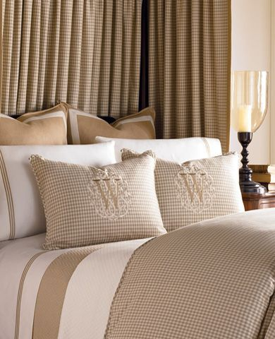 Tailored neutral linens with monogram