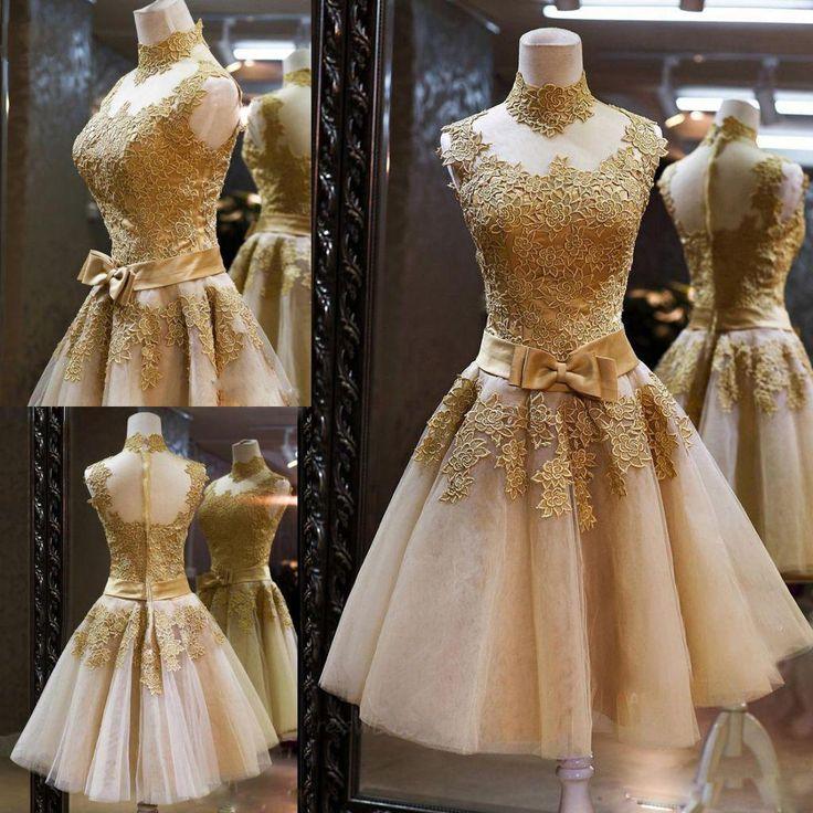 2015 Neues Abschlussball-Kleid-Cocktail-Festzug-Abschluss-Kleid mit hoher Ansatz-bloßer rückseitiger Goldspitze Appliqued Organza-Kurzschluss-Bogen-Schärpe-reales Bild