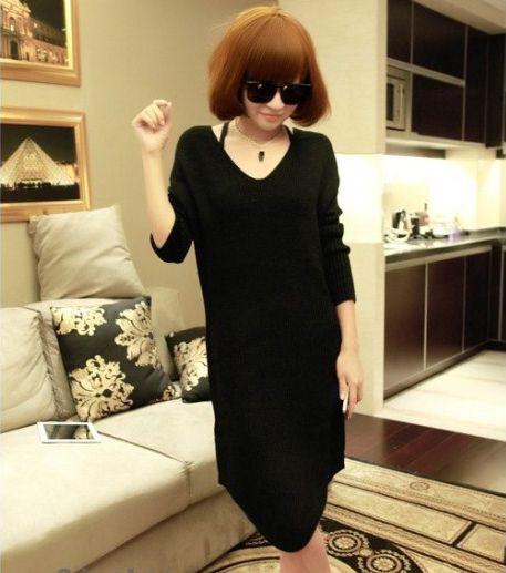 Women's Stylish Black Long Sleeve Dress - 27244006