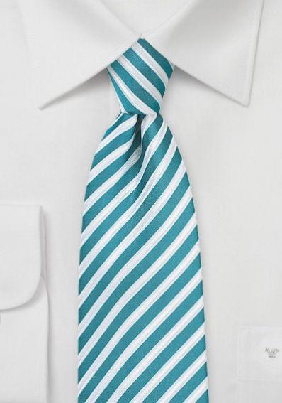 Herrenkrawatte Business-Streifen blaugrün schneeweiß