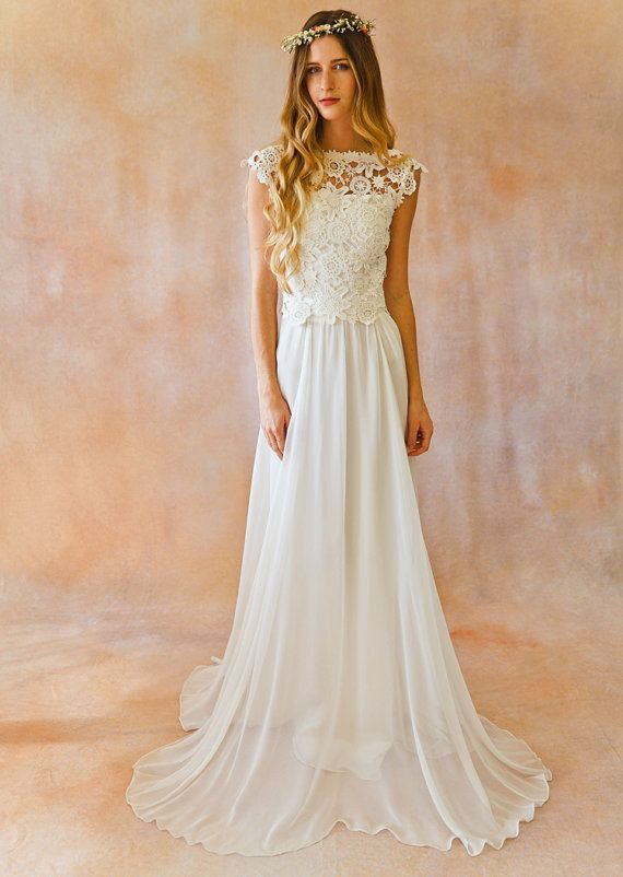 Amy 2-Piece Lace + Silk Chiffon Bohemian Wedding Dress. OPEN BACK boho style crochet lace wedding dress. Ivory or White Silk Skirt and Top