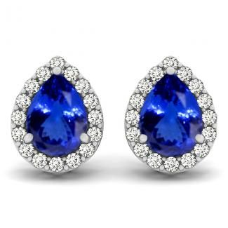 1.1cts Pear Tanzanite Earring With .256ctw Diamonds in 14K White Gold