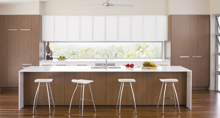 The well located window showcases the view in this Polytec kitchen.