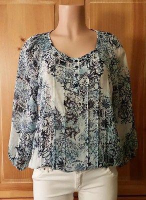 FRED DAVID Womens Size L 3/4 Sleeve Sheer Floral Print Boho Peasant Shirt Top