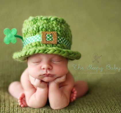 Fake baby pose with cute #shamrock hat.  I dislike fake #baby photos but this is cute!