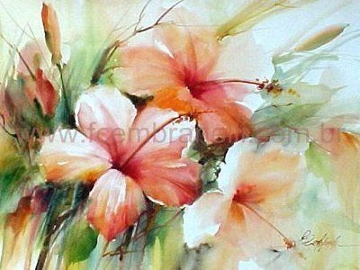 Watercolor Floral--I believe they are Hibiscus in shads of peach, salmon and pink. Artist Fabio Cembranelli.