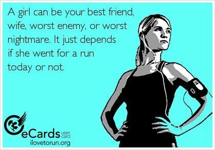 """women runner funny  I gotta start running again!  I think I""""m in the """"worst enemy"""" category lately.  :)"""