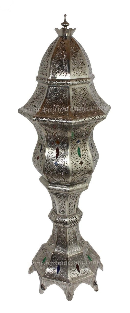 Beautiful Tall Silver Metal Floor Lantern with Multi-Color Eyelets - LIG295, Moroccan silver lantern, silver lighting, floor lantern,  (http://www.badiadesign.com/moroccan-tall-silver-floor-lantern-with-multi-color-eyelets-lig295/)