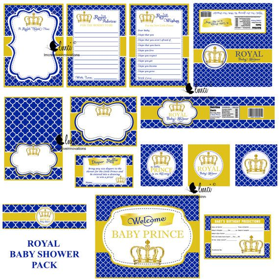 Royal Prince themed baby shower party favors. This listing is for the digital PDF files only. Instant download. Each file is on an 8.5 x 11 sheet. Your files will be available to download once your payment . You will need a zip file extractor to retrieve your files once you download the zip folders. This package includes all items as shown, no alterations: 1. Party signs 2. Candy Bar Wrapper 3. Diaper Raffle Insert 4. Thank You Card 5. Words of Wisdom Card 6. Drink Bottle Labels 7. Tent…