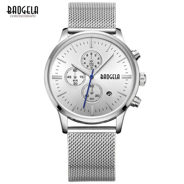 BAOGELA Chronograph men's quartz-watch stainless steel mesh band gold watches Slim men watches Multi-function sports Wristwatche