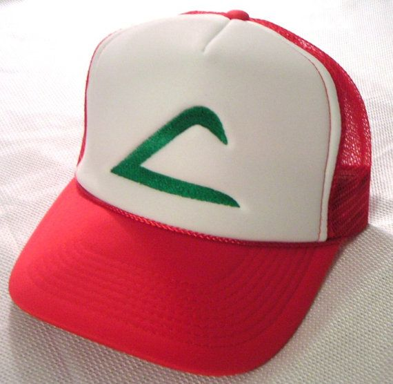 Pokemon Costume Hat Ash Ketchum Original Trainer Hat Halloween costume cap  Adult sz. $9.00, via Etsy.