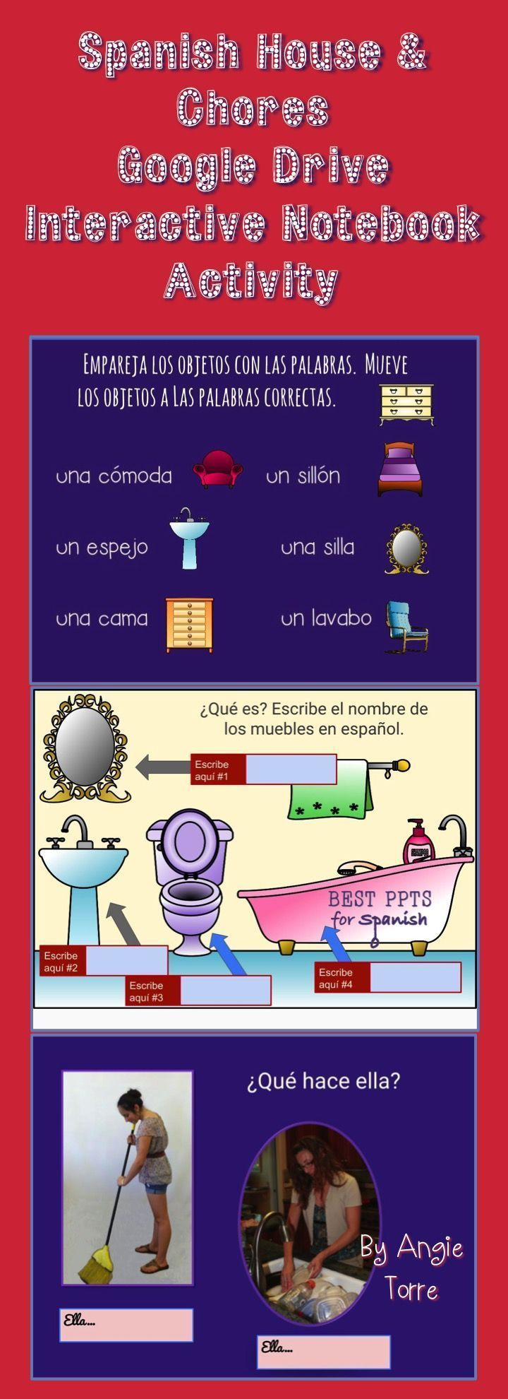 Spanish House and Chores PowerPoint and Interactive Notebook